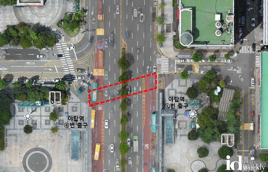 교통기획과-야탑역 1번 출구와 성남대로 건너편 4번 출구 잇는 횡단보도 12월 설치(빨간색 표시).jpg